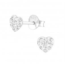 Heart - 925 Sterling Silver Ear Studs with Crystal stones A4S37078