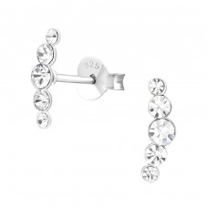 Geometric - 925 Sterling Silver Ear Studs with Crystal stones A4S37084