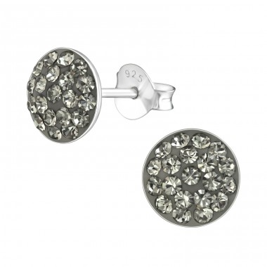 Round - 925 Sterling Silver Ear Studs with Crystal stones A4S37205