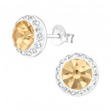 Round - 925 Sterling Silver Ear Studs with Crystal stones A4S37206