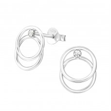 Geometric - 925 Sterling Silver Ear Studs with Crystal stones A4S37255