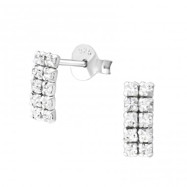 Square - 925 Sterling Silver Ear Studs with Crystal stones A4S37256