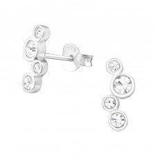 Geometric - 925 Sterling Silver Ear Studs with Crystal stones A4S37257