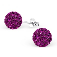 Round - 925 Sterling Silver Ear Studs with Crystal stones A4S3749