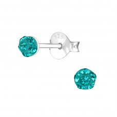 Round - 925 Sterling Silver Ear Studs with Crystal stones A4S37528