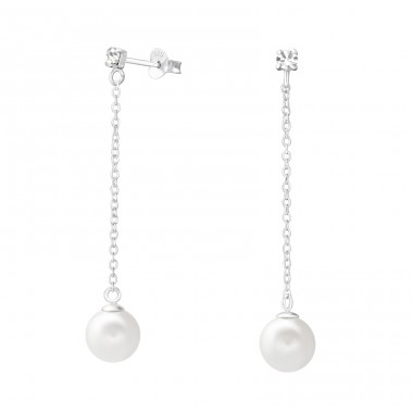 Hanging Pearl - 925 Sterling Silver Ear Studs with Crystal stones A4S37581