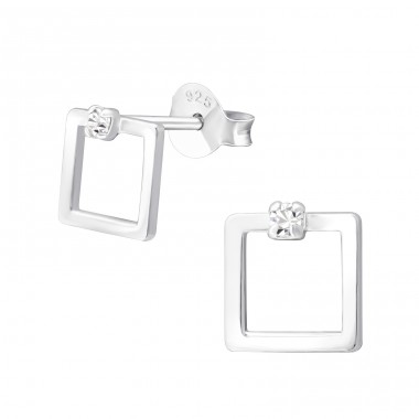 Square - 925 Sterling Silver Ear Studs with Crystal stones A4S37665