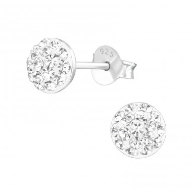Round - 925 Sterling Silver Ear Studs with Crystal stones A4S37760