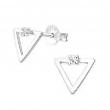 Triangle - 925 Sterling Silver Ear Studs with Crystal stones A4S37792