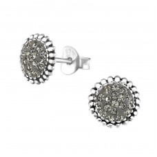 Round - 925 Sterling Silver Ear Studs with Crystal stones A4S37928