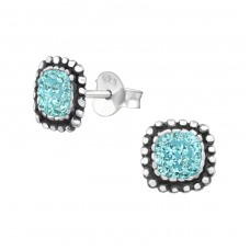 Square - 925 Sterling Silver Ear Studs with Crystal stones A4S37929