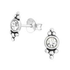 Antique - 925 Sterling Silver Ear Studs with Crystal stones A4S37936