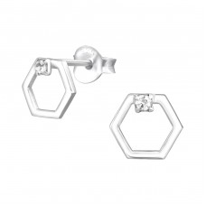 Hexagon - 925 Sterling Silver Ear Studs with Crystal stones A4S37937