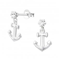 Anchor - 925 Sterling Silver Ear Studs with Crystal stones A4S38097