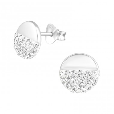 Round - 925 Sterling Silver Ear Studs with Crystal stones A4S38285