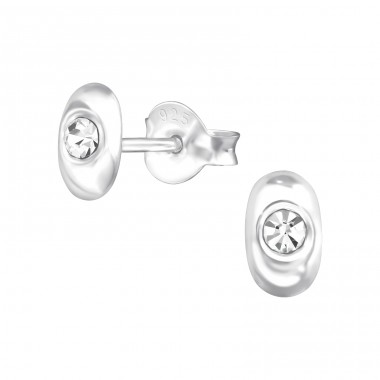 Oval - 925 Sterling Silver Ear Studs with Crystal stones A4S38350