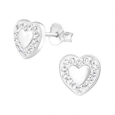 Heart - 925 Sterling Silver Ear Studs with Crystal stones A4S38353