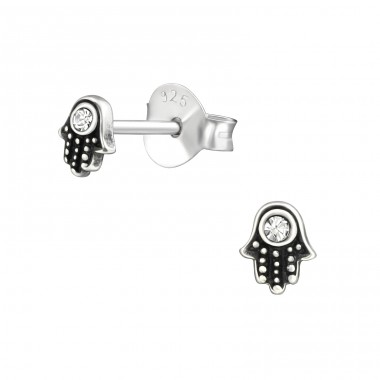 Hamsa - 925 Sterling Silver Ear Studs with Crystal stones A4S38465