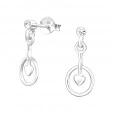 Silver Ear Studs With Hanging Heart And Crystal - 925 Sterling Silver Ear Studs with Crystal stones A4S38486