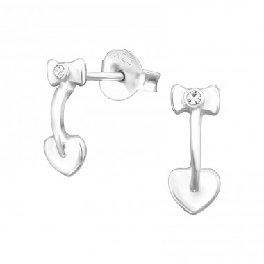 Bow And Heart - 925 Sterling Silver Ear Studs with Crystal stones A4S38488
