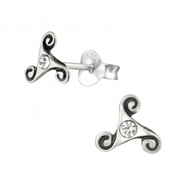 Celtic - 925 Sterling Silver Ear Studs with Crystal stones A4S38508