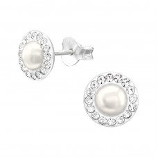 Round - 925 Sterling Silver Ear Studs with Crystal stones A4S38604