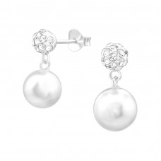 Ball With Hanging Synthetic Pearl And Crystal - 925 Sterling Silver Ear Studs with Crystal stones A4S38650