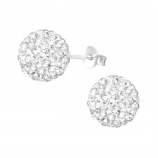 Ball - 925 Sterling Silver Ear Studs with Crystal stones A4S39045