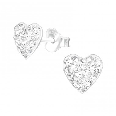 Heart - 925 Sterling Silver Ear Studs with Crystal stones A4S39047