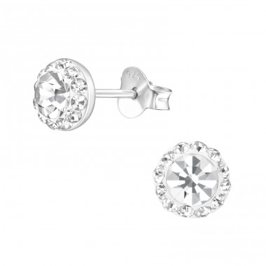 Round - 925 Sterling Silver Ear Studs with Crystal stones A4S39188