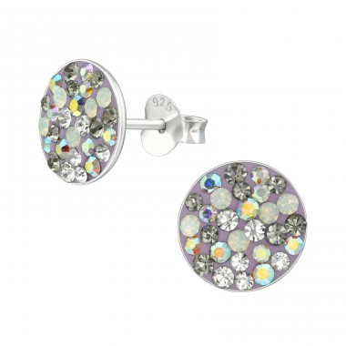 Round - 925 Sterling Silver Ear Studs with Crystal stones A4S39191