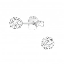 Ball - 925 Sterling Silver Ear Studs with Crystal stones A4S39259