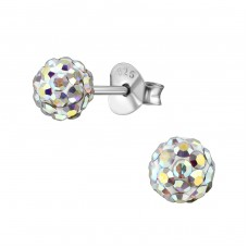 Ball - 925 Sterling Silver Ear Studs with Crystal stones A4S39261