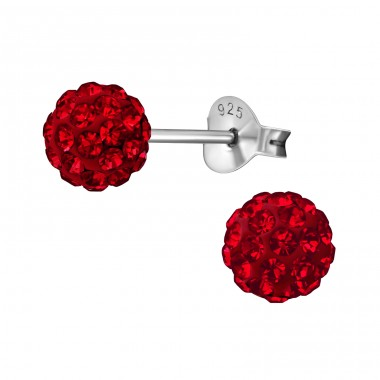 Ball - 925 Sterling Silver Ear Studs with Crystal stones A4S39262