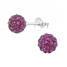 Ball - 925 Sterling Silver Ear Studs with Crystal stones A4S39263