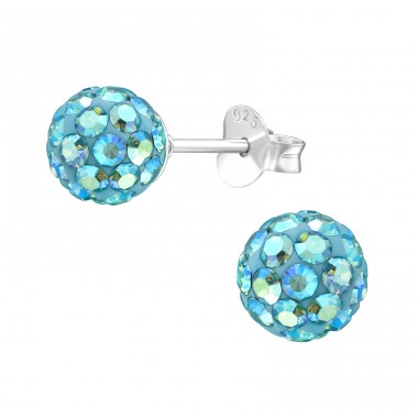 Ball - 925 Sterling Silver Ear Studs with Crystal stones A4S39264