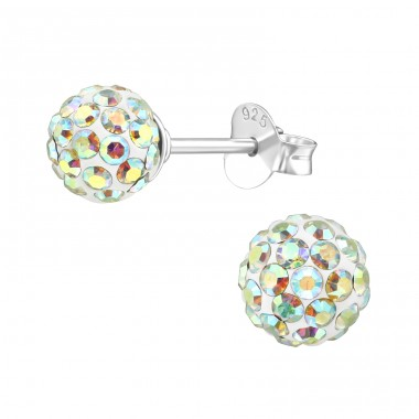 Ball - 925 Sterling Silver Ear Studs with Crystal stones A4S39265