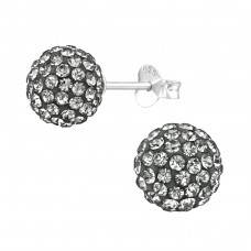 Ball - 925 Sterling Silver Ear Studs with Crystal stones A4S39266