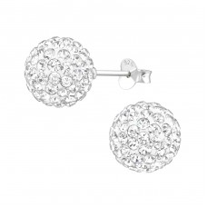 Ball - 925 Sterling Silver Ear Studs with Crystal stones A4S39270