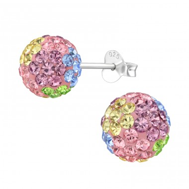 Ball - 925 Sterling Silver Ear Studs with Crystal stones A4S39271