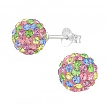 Ball - 925 Sterling Silver Ear Studs with Crystal stones A4S39272