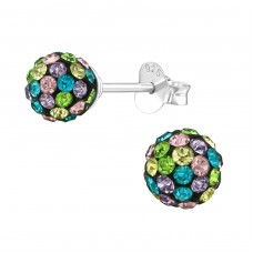 Ball - 925 Sterling Silver Ear Studs with Crystal stones A4S39274