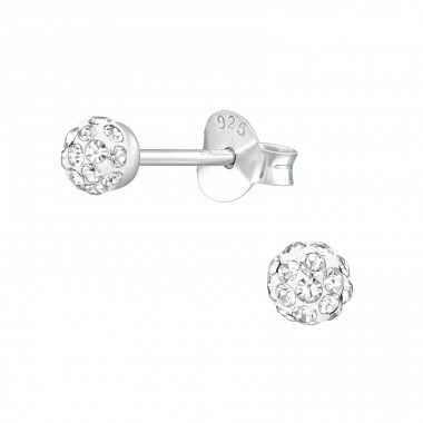 Ball - 925 Sterling Silver Ear Studs with Crystal stones A4S39275
