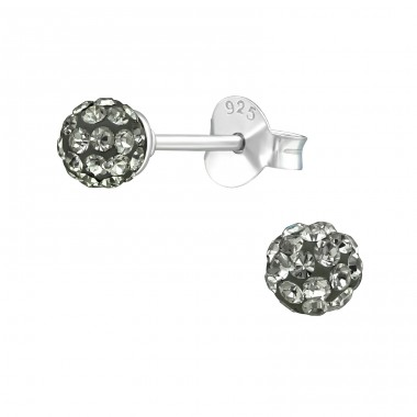 Ball - 925 Sterling Silver Ear Studs with Crystal stones A4S39276