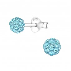 Ball - 925 Sterling Silver Ear Studs with Crystal stones A4S39278