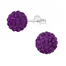 Ball - 925 Sterling Silver Ear Studs with Crystal stones A4S39280