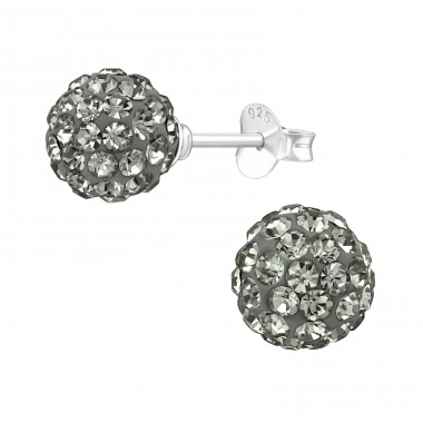 Ball - 925 Sterling Silver Ear Studs with Crystal stones A4S39281