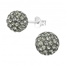 Ball - 925 Sterling Silver Ear Studs with Crystal stones A4S39283