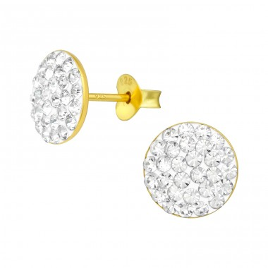 Round - 925 Sterling Silver Ear Studs with Crystal stones A4S39315