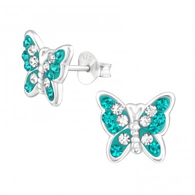 Butterfly - 925 Sterling Silver Ear Studs with Crystal stones A4S39390